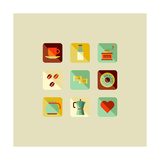 Coffee Flat Icons Posters by  cienpies
