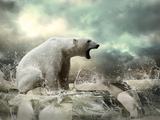White Polar Bear Hunter On The Ice In Water Drops Poster by  yuran-78