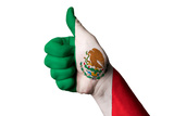 Mexico National Flag Thumb Up Gesture For Excellence And Achievement Made With Hand Photographic Print by  vepar5
