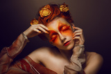 Bodyart. Imagination. Artistic Woman With Red - Gold Makeup And Flowers. Coloring Posters by  Gromovataya