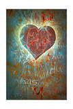 Colorful Grunge Background With Graffiti, Writings, A Heart And A Slight Vignette Poster par  ccaetano
