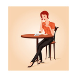 Girl In Cafe Print by  Sergusster