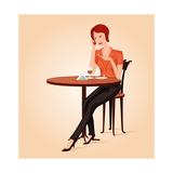 Girl In Cafe Print by  Sergusster