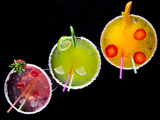 Fruit Cocktails On Black Background Prints by  Kesu01