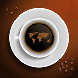 World Map In Coffee Cup Fotografiskt tryck av  MiloArt