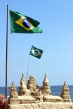 Brazilian Flag On Copacabana Beach In Rio De Janeiro Posters by  egd1