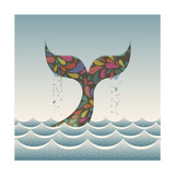 Whale Waving Hello with it's Tail Premium Giclee Print by  Cyborgwitch