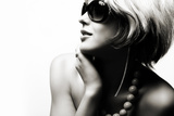 Fashion Woman Portrait Wearing Sunglasses On White Background Prints by alial