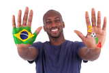 Brazilian Man Hands With A Painted Heart And Brazilian Flag, I Love Brazil Concept Prints by Samuel Borges