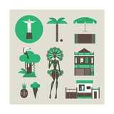Brazillian Icons Premium Giclee Print by vector pro
