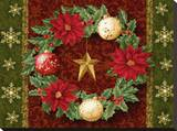Holly Wreath Stretched Canvas Print by Tom Wood