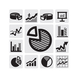 Business Chart Icons Premium Giclee Print by  bioraven