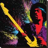 Jimi Hendrix - Portrait en couleurs, peinture Reproduction transférée sur toile