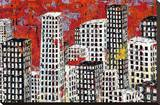 Red, Black and White Cityscape Stretched Canvas Print by Daryl Thetford