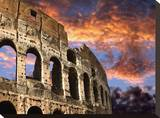 Coloseum on Fire Stretched Canvas Print by John Bartosik