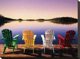Muskoka Chairs Stretched Canvas Print by John Bartosik