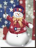 Snowman II Stretched Canvas Print by Tom Wood