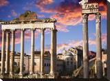 Roman Forum on Fire Stretched Canvas Print by John Bartosik