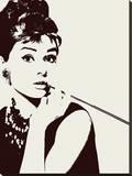 Audrey Hepburn-Cigarello - Şasili Gerilmiş Tuvale Reprodüksiyon