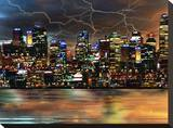 Electric City Stretched Canvas Print by Tatiana Lopatina