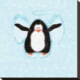 Penguin In Snow Angel Stampa su tela di Janis Boehm