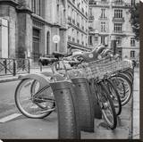 Rent A Cycle In Paris Stretched Canvas Print by Jack Brittain