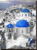 Santorini In Blue Stretched Canvas Print by Dale MacMillan