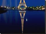 Reflected Eiffel Paris Stretched Canvas Print by AJ Messier