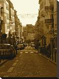 Sepia Road Paris Stretched Canvas Print by Dominick Petrungaro