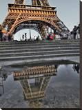 Rain Puddle Reflections Paris Stretched Canvas Print by AJ Messier