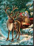 The Enchanted Christmas Reindeer Stretched Canvas Print by Dona Gelsinger
