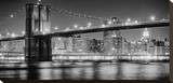 New York Bridge Black & White Stretched Canvas Print by AJ Messier