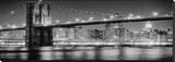 New York Bridge Black & White Stretched Canvas Print by AJ Messier