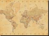 World Map-Vintage Style Stretched Canvas Print