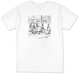 "Man walks by construction site where women construction workers call out t…"" - New Yorker T-Shirt T-shirts by Tom Cheney"