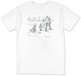 Dog at home plate with a leash in his mouth, waiting for pitcher to walk h… - New Yorker T-Shirt T-shirts by Danny Shanahan