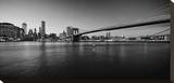 Black & White Manhattan Bridge Stretched Canvas Print by AJ Messier