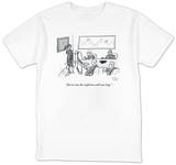 """Just in case the conference call runs long."" - New Yorker T-Shirt T-shirts by Farley Katz"