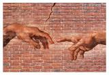 Michelangelo Creation of Adam Graffiti Posters