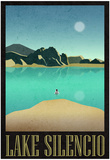 Lake Silencio Retro Travel Poster Plakát