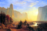 Albert Bierstadt Yosemite Valley Sun Rise Plastic Sign Plastic Sign by Albert Bierstadt