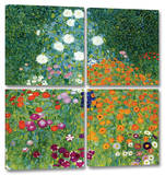 Farm Garden 4-Piece Set Gallery Wrapped Canvas Set by Gustav Klimt
