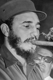 Fidel Castro Smoking Cigar Archival Photo Poster Photo