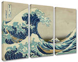 The Great Wave Off Kanagawa 3-piece set Gallery Wrapped Canvas Set by Katsushika Hokusai