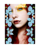 Sunny Eyes With Blue Rose Leafes Photographic Print by Alaya Gadeh and Elizabeth May