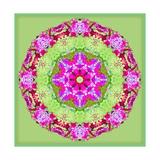 Pink Mandala On Green Posters por Alaya Gadeh