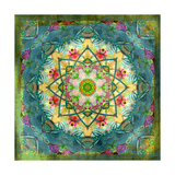 Floral Mandala Green Gold Photographic Print by Alaya Gadeh