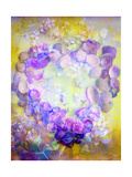 Violet Colored Seashell Heart On Sunny Flower Sand Photographic Print by Alaya Gadeh