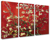 Interpretation in Red Almond Blossom 3-Piece Set Gallery Wrapped Canvas Set by Vincent van Gogh