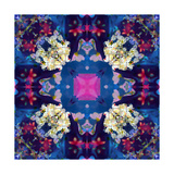 Dark Blue Flower Ornament Cross Photographic Print by Alaya Gadeh